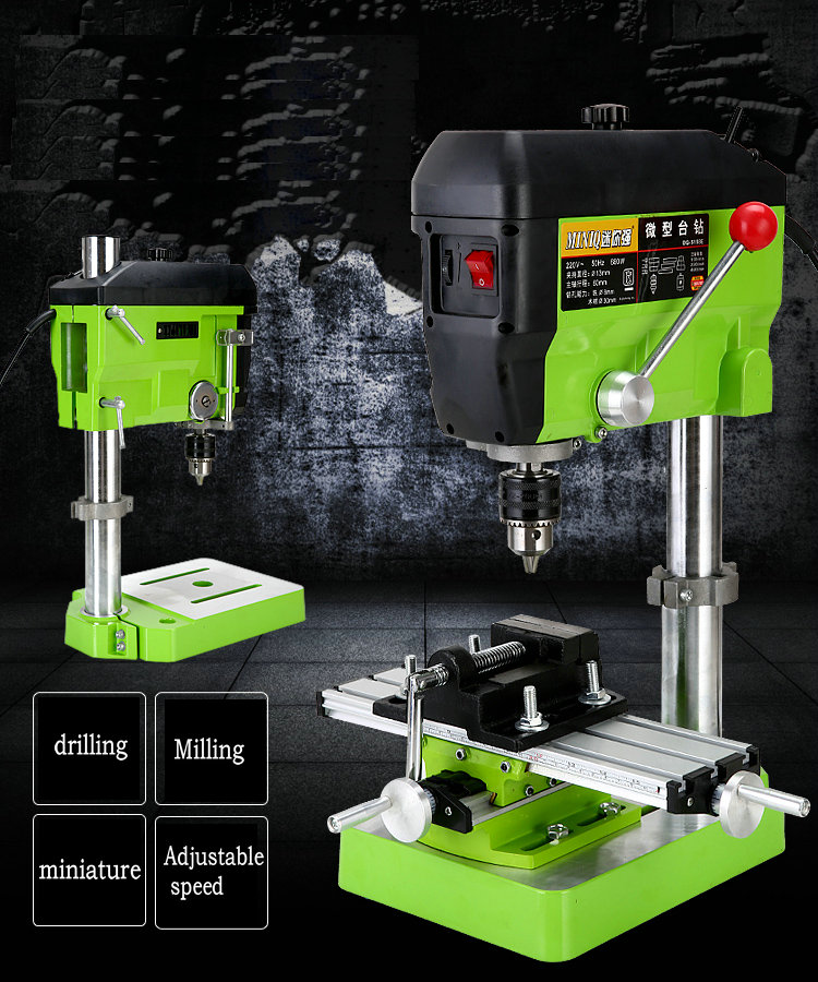 220V 680W mini bench drill high-speed precision drilling Easy milling machines, machining tool holding prayer beads range 1-13mm