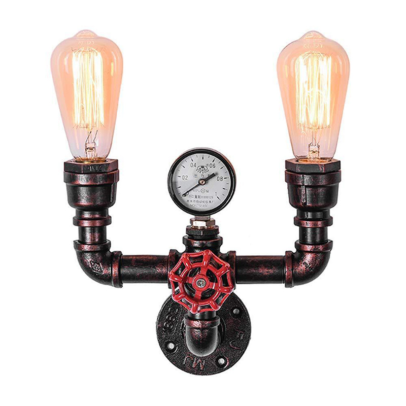 Water Pipe Wall Light Vintage Industrial Iron Rust Wall Light Retro Aisle Lights For Loft Cafe Living Room Bedroom Bedside