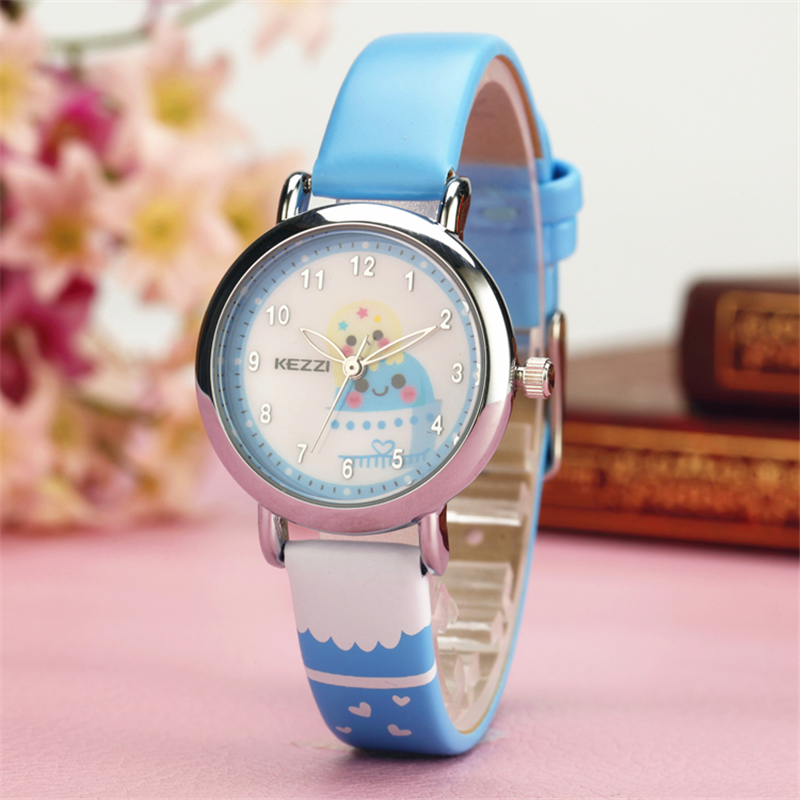 2016 kezzi top brand kids children fashion watches quartz analog cartoon leather strap wrist for Watches brands for girl