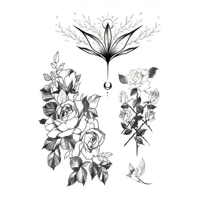 1 PC Fashion Women Girl Temporary Tattoo Sticker Black Roses Design Full Flower Arm Body Art Big Large Fake Tattoo Sticker 2