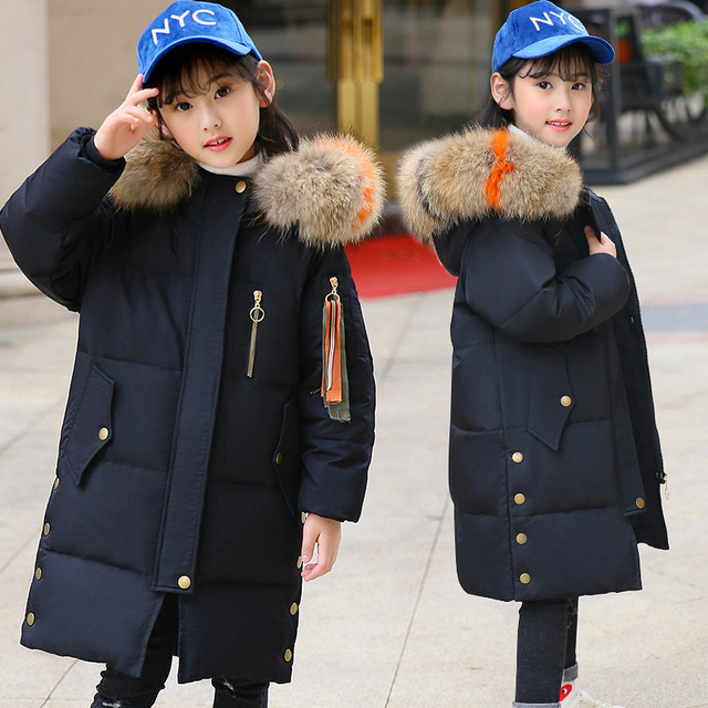 fe29421bd Girls Down Coats 2019 Fashion Winter Coat Kids Warm Thick Fur Collar ...