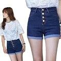 2016 Nova Moda das calças de brim das mulheres de Verão de Cintura Alta Shorts Jeans Stretch Coreano Casual mulheres Shorts Jeans Quentes Plus Size