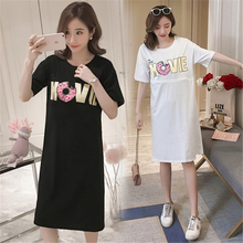 2019 summer new breastfeeding dress short-sleeved Korean version was thin out feeding long section