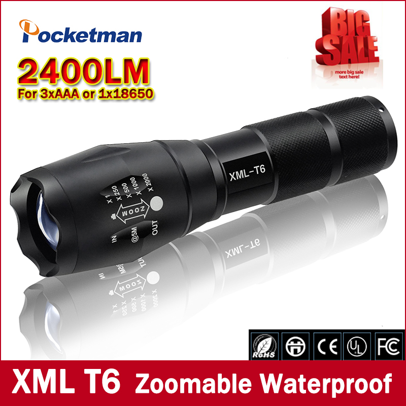 Big Promotion Ultra Bright XML T6 LED Flashlight 5 Modes 2400 Lumens Zoomable LED Torch  Free shippingBig Promotion Ultra Bright XML T6 LED Flashlight 5 Modes 2400 Lumens Zoomable LED Torch  Free shipping