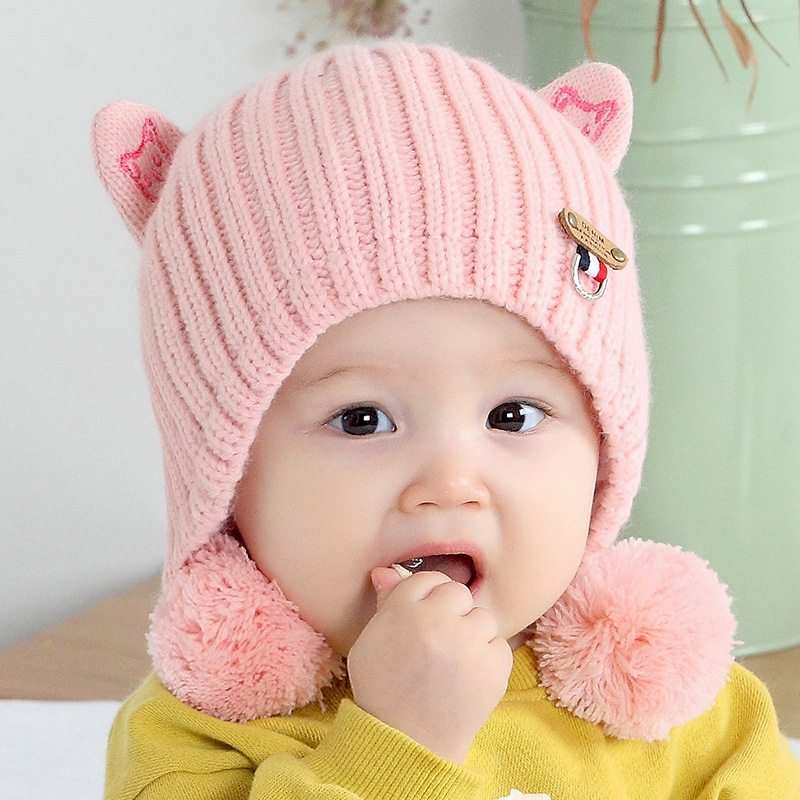 9ee1d05d683 Baby Hat Autumn Winter Cartoon Earmuffs Thicken Warm Knitting Infant Baby  Hats Kid Grils Baby Cap Newborn Photography Props