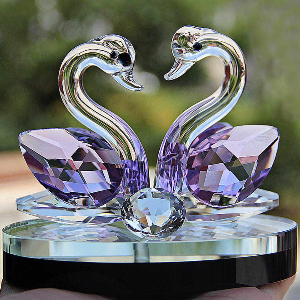 Cygne cristal verre Figurines Collection diamant cygne Animal presse-papier Table ornement de mariage décor à la maison enfants cadeaux d'anniversaire