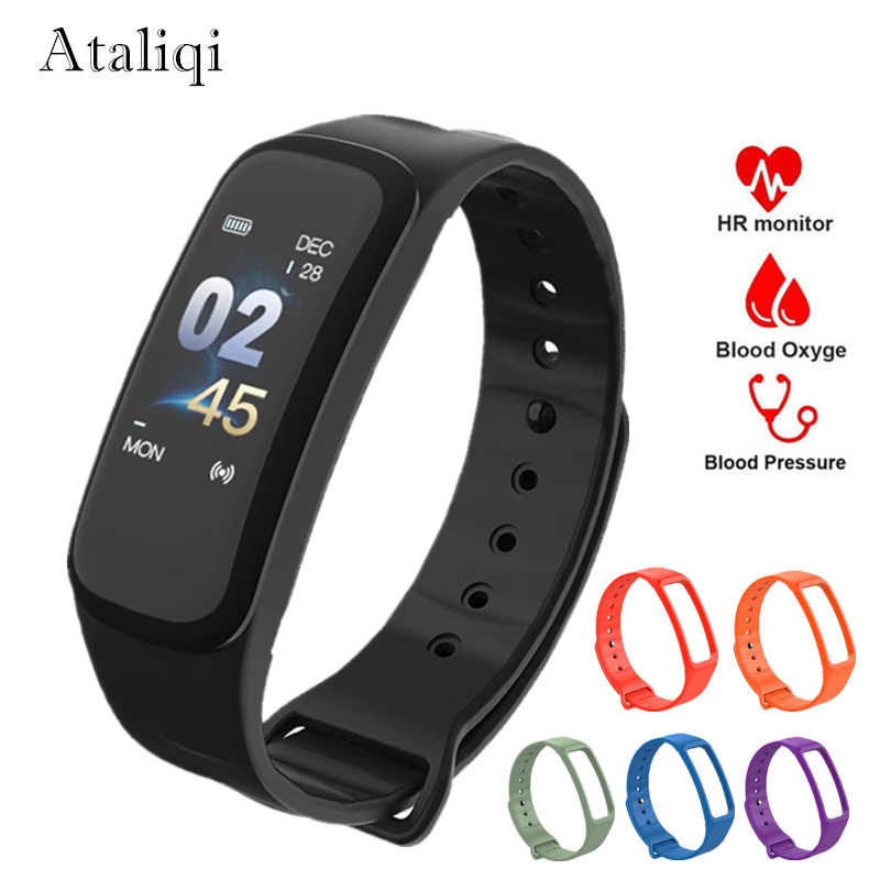 Ataliqi C1 PLUS Smart Bracelet Color Screen Blood Pressure Fitness Tracker Heart Rate Monitor Smart Band for honor Android IOS