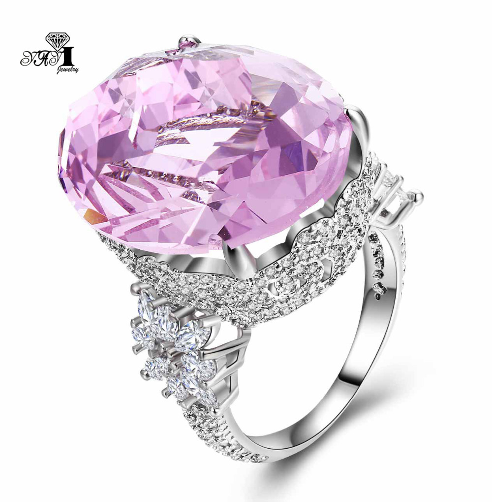 YaYI Jewelry Fashion  Princess Cut 18*22mm Huge 16 CT Pink Zircon Silver Color Engagement Rings wedding Rings Party Rings