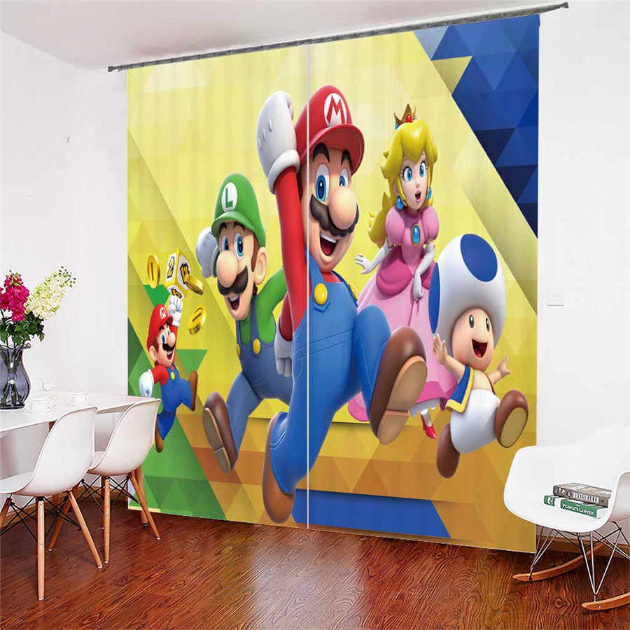 3D Window Curtains Mario Print for Living Room Bedding Room Home Decor Tapestry Wall Carpet Drapes Cotinas #MLA-2