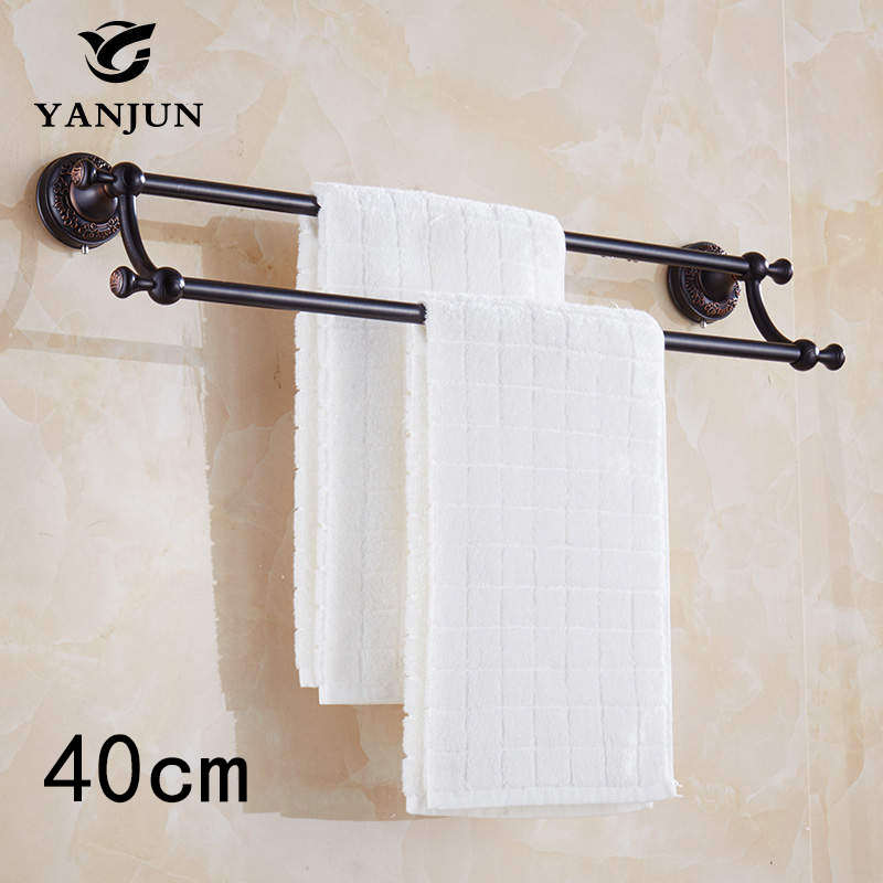 Brand New Antique Brass Luxury Double Towel Bars  40CM Bathroom Accessories Christmas Decorations For Home YJ-7859 полотенце brand new 1 hair drying towel