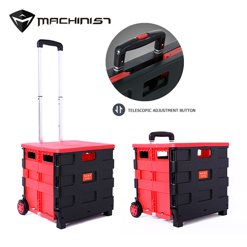 1pc Car trunk storage box plastic multi function storage box compartment folding car tail box With tie rods and wheels movable