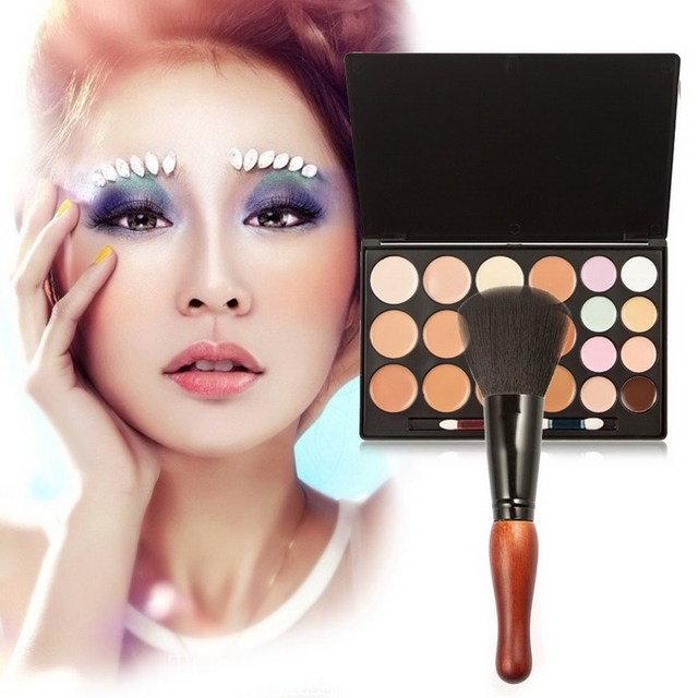 Professional 20 Colors Makeup Concealer Cream Cosmetic Palette Gourd With Makeup Brush Cosmetic Tool GUB#