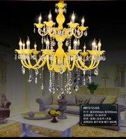 Longree Żyrandole Nowoczesne Żółty Kryształ Świeca Żyrandol Światła Lampy LED dla Domu Oświetlenie Wewnętrzne światło żyrandol