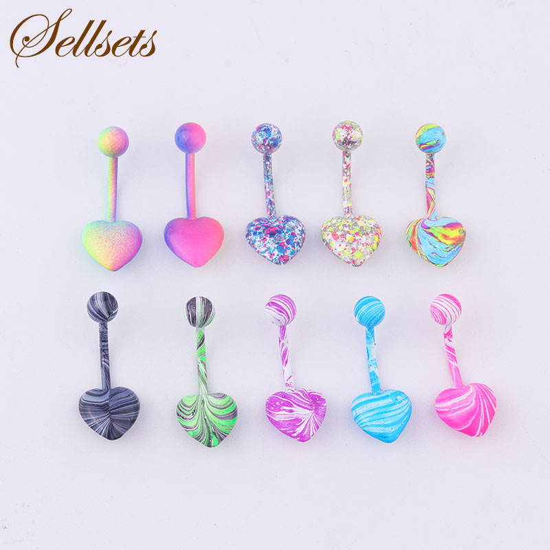 Sellsets Body Piercing Jewelry Mix 10pcs New Color Stainless Steel Heart Shape Navel Piercing Belly Button Rings Wholesale