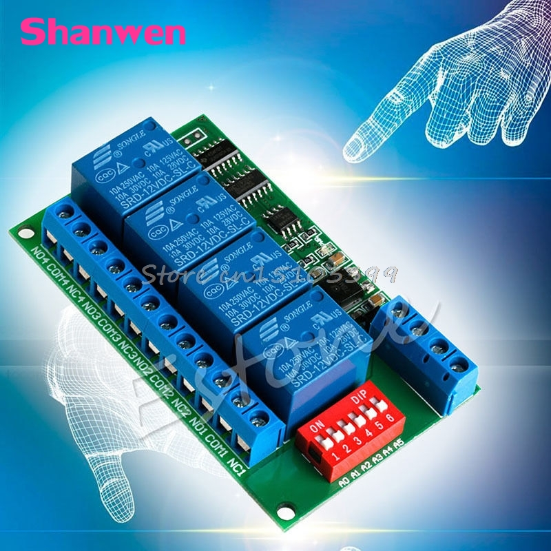 12V RS485 Relay 4CH Modbus RTU PC UART Board for PLC Lamp LED PTZ Camera Control #G205M# Best Quality 2017 new arrival free shipping 8 ch modbus rtu rs485 network expansion board rs485 modbus rtu mode