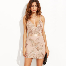 2017 Sexy Party Mini Dress Women Lace Golden Sequined Night Club Halter Backless Deep V-Neck CYQ040