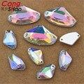 100pcs 9*14 mm/17*27mm  Irregular Shape AB Acrylic Flatback Crystal  Silver Base Sewing Rhinestones Sew On 2 Holes ZZ310
