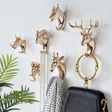 Fashion Animal Shaped Hooks Deer Stags Rhino Horse Giraffe Elephant Head Wall Hanger Coat for Hat Hook Rack Holder Home Decor