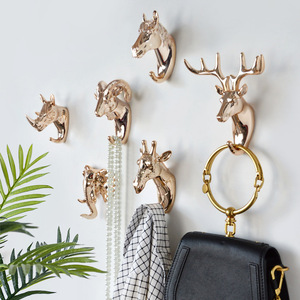 Fashion Animal Shaped Hooks Deer Stags Rhino Horse Giraffe Elephant Head Wall Hanger Coat for Hat Hook Rack Holder Home Decor