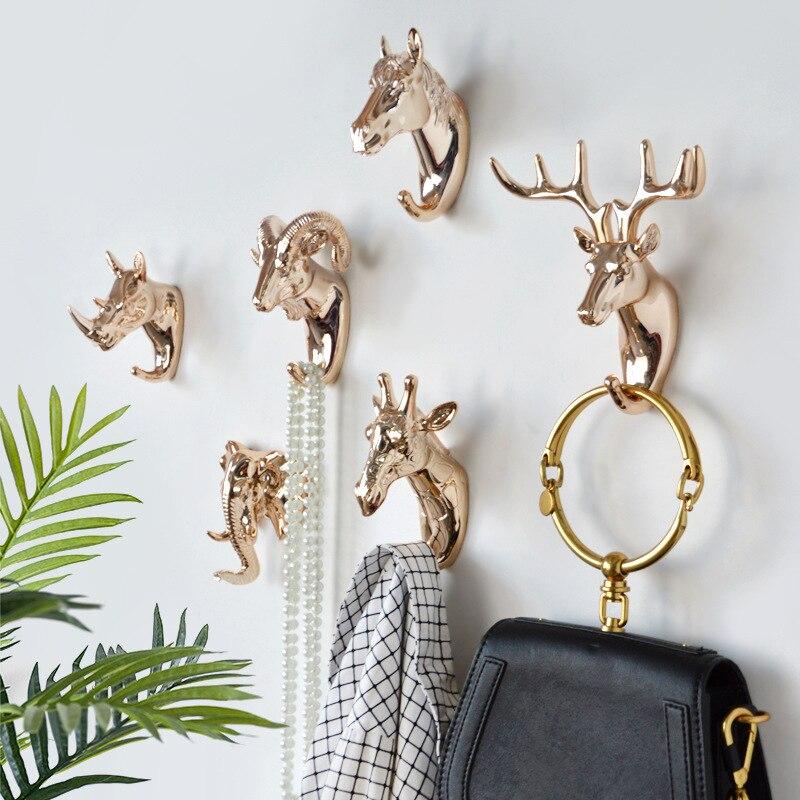 Ganchos Em Forma de moda Animal Cervos Veados Rinoceronte Girafa Cavalo Titular Rack de Cabide de Parede Cabeça de Elefante para o Chapéu Gancho Casa decoração