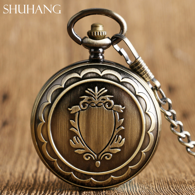 SHUHANG 2017 Shield Bronze Mechanical Pocket Watch Classic Steampunk Roman Dial Skeleton Mens Black Windup Watches Fob Chain цена
