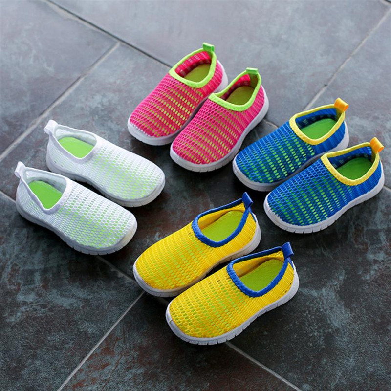 Summer 2018 Baby Children Sandals Boy Girl Shoes Candy Color Fabric Mesh Casual Sport Sneakers Cherryb