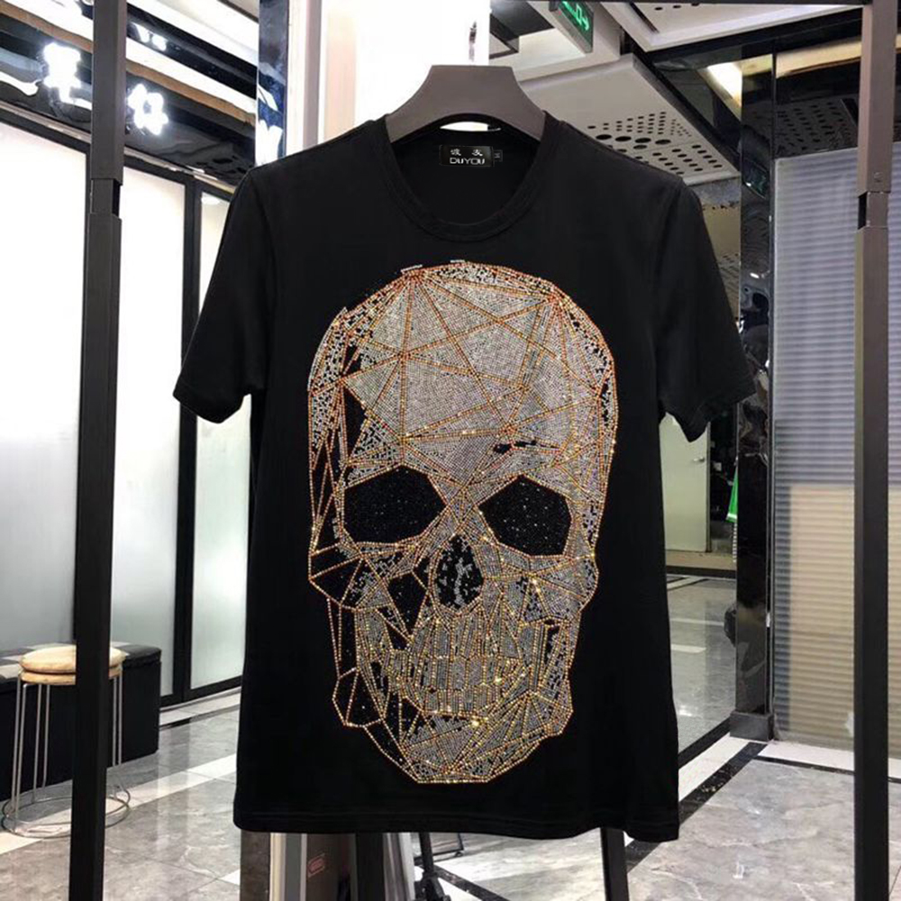 DUYOU Mens Designer T Shirts Men Short Sleeve Fashion Rhinestone Big Mesh Skull Man T-shirt Male High Quality 100% Cotton Tees