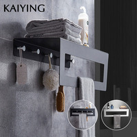 KAIYING Alumimum Bathroom Towel Rack Wall mounted Double Towel Holder Towel Clothes Organizer Storage Shelf Bathroom Accessories