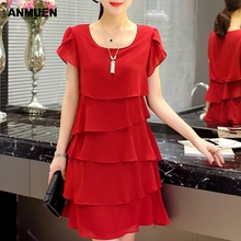 Summer Chiffon Dress 2019 New Women Plus Size 5XL Layered  Ruffle Red Dresses Causal Ladies Elegant Party Cocktail