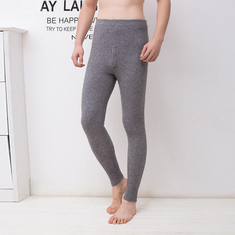 Uomini Leggings 100% Puro Cashmere Lavorato A Maglia Pantaloni di Inverno di Nuovo Modo di Alta Qualità Pantaloni Morbidi Uomo Caldo Elastico della Mutanda Maschile Legging
