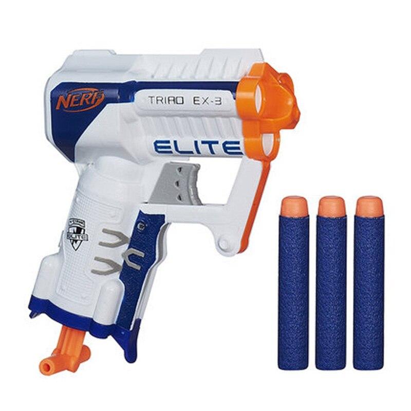 Mini Pistol Gun Nerf Elite Bands Soft Bullet 3 Dart Slam Fire Range 15m  Blaster Nerf