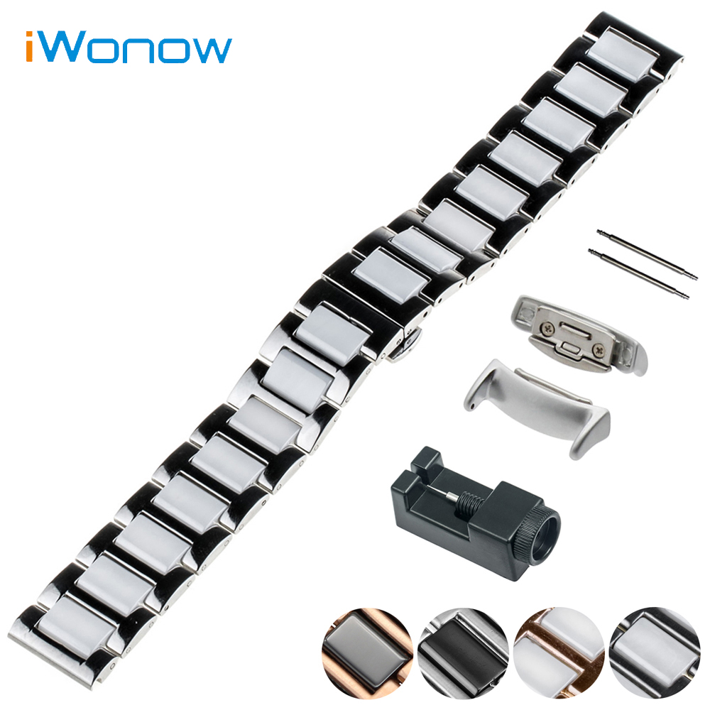 Ceramic Watch Band 18mm for Samsung Gear Fit 2 SM-R360 Butterfly Buckle Strap Wrist Belt Bracelet Black + Spring Bar + Adapters samsung ep yb360bbrgru black док станция для gear fit 2