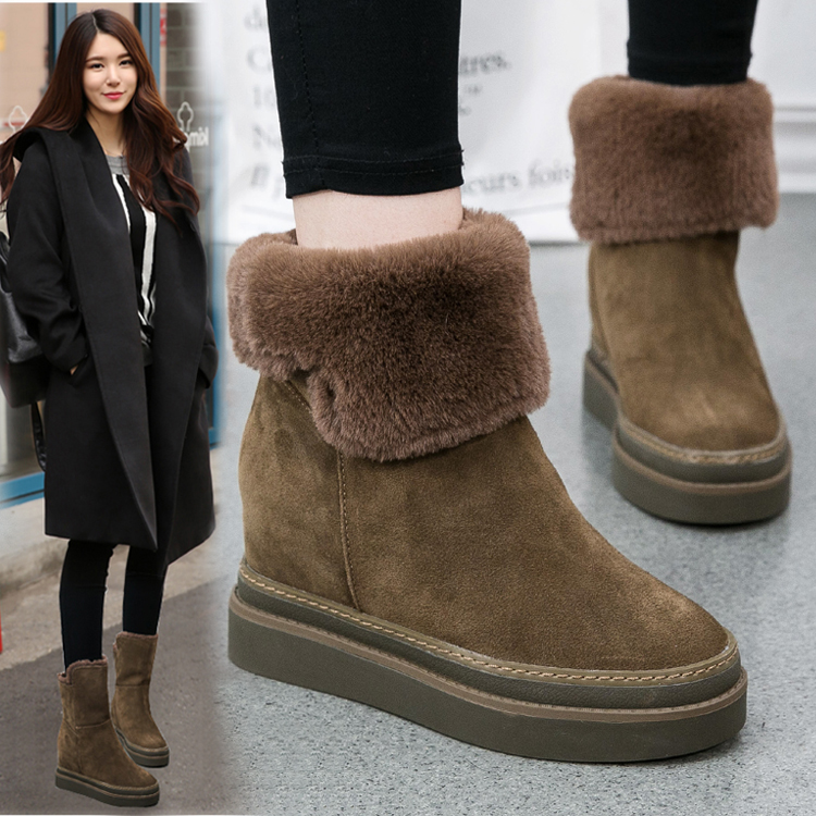 ФОТО Women Fashion Genuine Leather Ankle Boots Women Winter Height-increasing Sheep Hair Boots Mid-calf Classic Shoes  Size 35-39