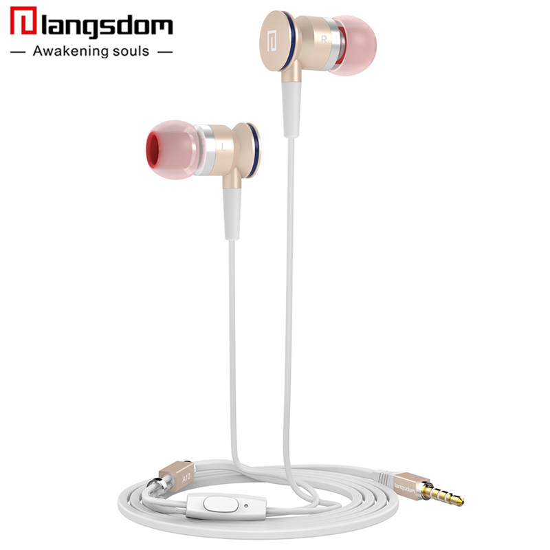 Langsdom A10 In-Ear Earbuds Earphone HiFi Stereo Metal Headset fone de ouvido with Microphone Phone Earphone for Xiaomi Samsung new langsdom phone earphones with microphone dual driver in ear earphone headset for phone earbuds fone de ouvido mp3 xiaomi