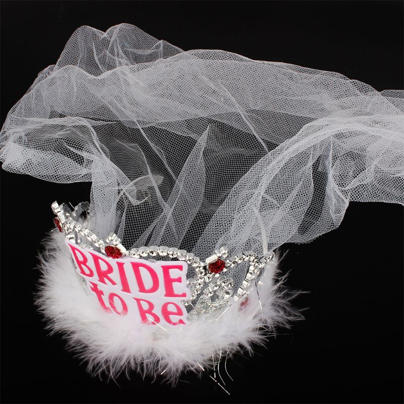Bride To Be Crown Tiara Lace Veil Feather Hair Hoop Girl Bachelor Night Party Before Wedding Decor Accessories