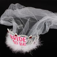 Bride To Be Crown Tiara Lace Veil Feather Hair Hoop Girl Bachelor Night Party Before Wedding Decor Accessories Bridal Veils