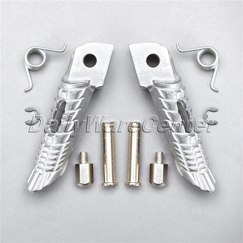 1 Pair Chrome Motorcycle Front Footrest Foot Peg Motorbike Parts Dirtbike Pitbike for Suzuki GSX-R 600 GSX-R750 GSX-R1000 image