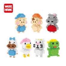 WiseHawk nanoblock action figures mcmug pig animals model DIY cute cartoon assembly building blocks toys gifts for children.