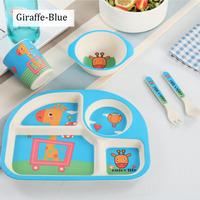 5pcs/set kids dinnerware Bamboo fiber tableware set for children baby dishes Baby Feeding Set