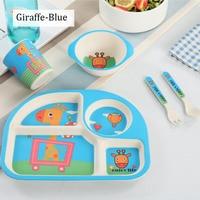 5pcs/set kids dinnerware Bamboo fiber tableware set for children baby dishes Baby Feeding Set