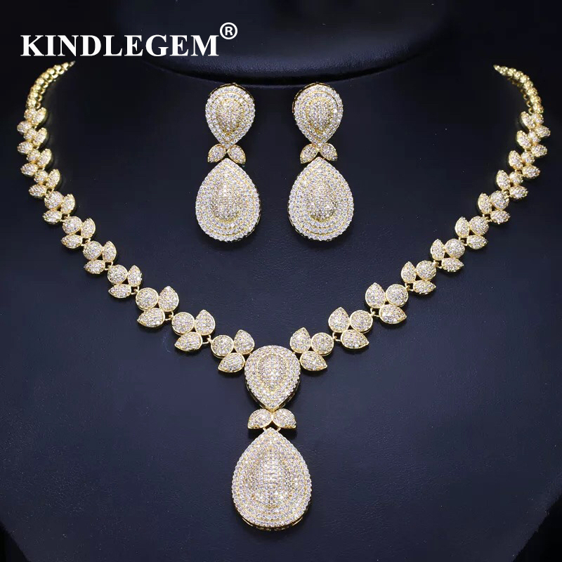 Kindlegem Luxury Zircon Parure Bijoux Femme Dubai Gold Earrings Necklace Sets Fashion Indian African Jewellery For