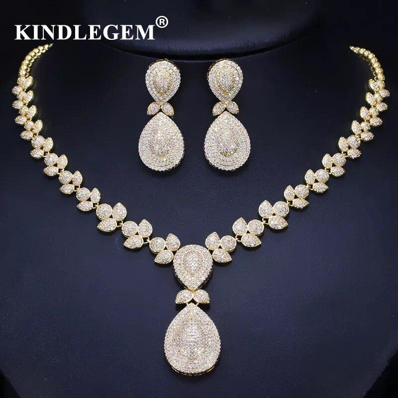 Kindlegem luxe Zircon Parure Bijoux Femme Dubai or boucles d'oreilles collier ensembles mode indien africain Bijoux pour femmes