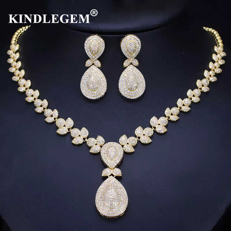 Kindlegem роскошный циркон женские ювелирные украшения Дубай золотые серьги ожерелье наборы модные индийские африканские украшения для женщин