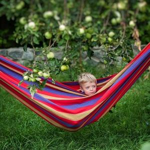 Image 4 - Canvas Double Hammock Cotton 2 People Hamac Widen Garden Swing Sleeping Hamak Rede De Dormir 200*150cm Furniture Hamaca