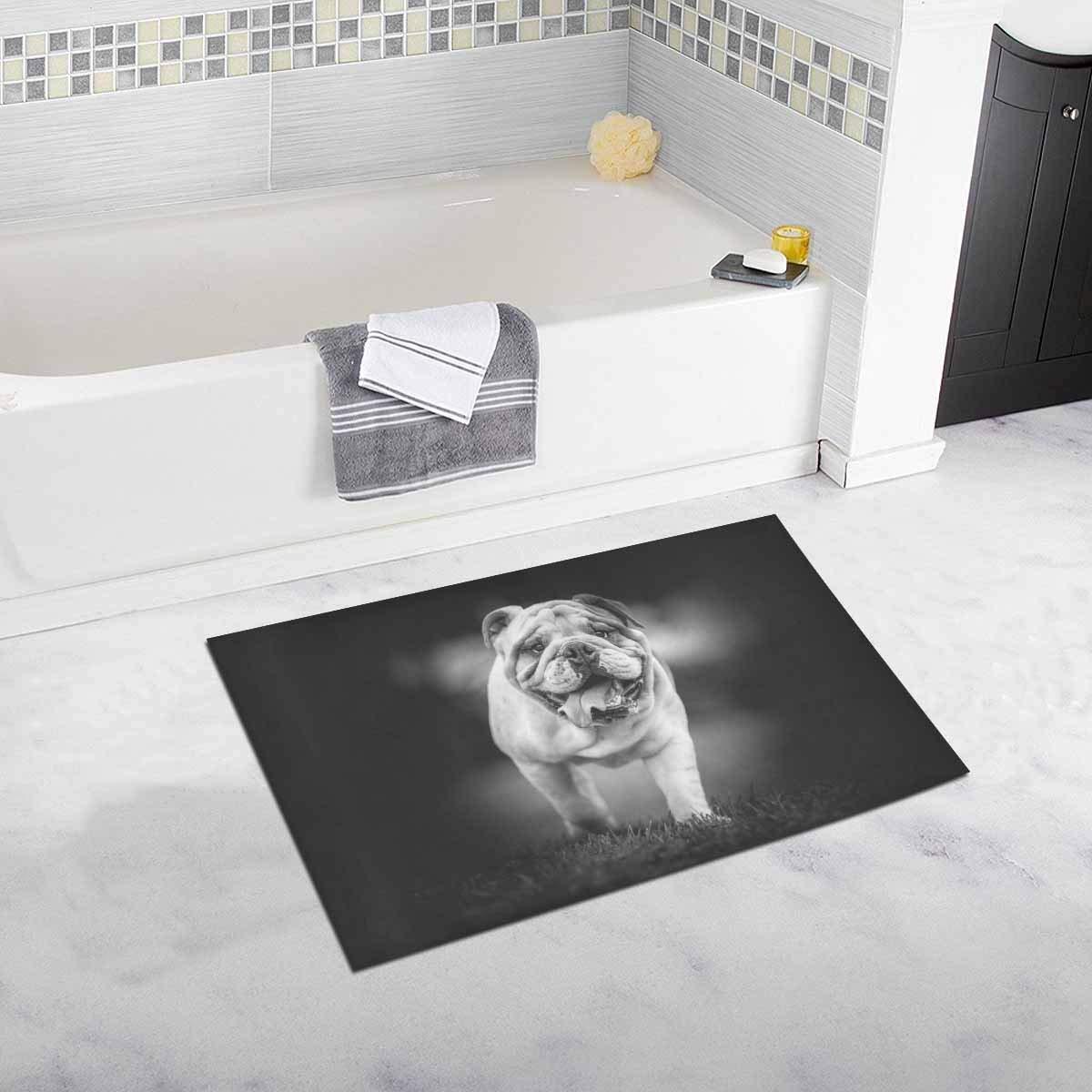 English Bulldog Black And White Photo Kitchen Mat Soft
