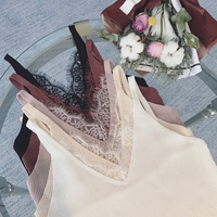Summer Women Knitting Solid Camis Tops Sleeveless Tee shirts Girls Solid Tops Knitwear Patch Lace Neck Edge JH600