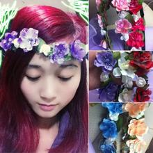Hot Women s Bohemian Floral Flower Rose Party Wedding Hair Wreaths Headband Hair Band 22JH