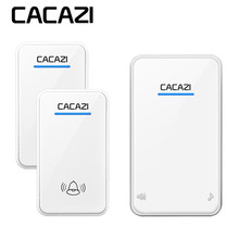 CACAZI wireless doorbell newest waterproof LED AC 100-240V EU/US/UK plug door be