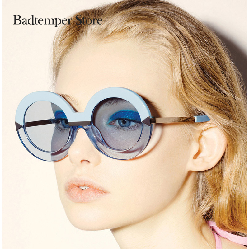 Badtemper 2017 New Brand Women Round Oversize Arrow Mirror SunGlasses Brand Designer Circle Vintage Retro  SKY BLUE Sun Glasses