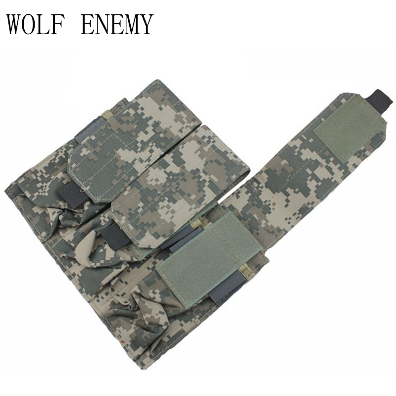 High Quality Tactical Airsoft Molle Triple <font><b>M4</b></font> <font><b>Magazine</b></font> Pouch OD BK TAN ACU Digital Woodland Camo image